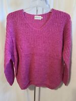 Dreamers Women's Size XL Pink V-Neck Pullover High Low 3/4 Sleeve Sweater NWT