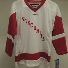 Reebok WISCONSIN White Hockey Jersey New Youth L/XL MSRP $50