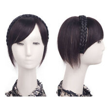 Women Hairband Modified Face Bangs Hairpiece Short Straight Human Hair Topper