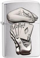 ZIPPO Trick Poker - Chrome Gebürstet Feuerzeug Das Original - 60003270
