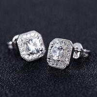 Fashion Stud Earrings for Women 925 Silver White Sapphire Earrings A Pair