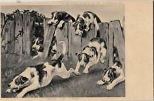 DA41.Vintage Postcard.Dogs. Near the Finish.Dogs racing and jumping fences.