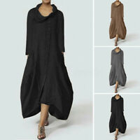 UK 8-24 Women Colw Neck Long Sleeve Casual Baggy Shirt Dress Kaftan Plus Size
