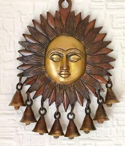 Large Antique Brass Sun Face Ornament Sun Mask wall hanging Bells Garden Chimes