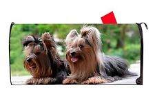 Two Yorkies Yorkshire Terrier Dog Vinyl Magnetic Mailbox Cover  Made in the USA
