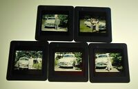 5- 1950 Amateur Photo Snapshot 35mm Film Slides Family w/ New Ford Deluxe Car