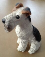 "Sweet ""Resin White Brown Black Airedale Fox Terrier Dog Puppy Figurine"""