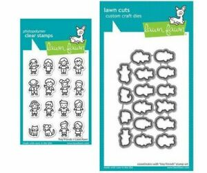 Lawn Fawn TINY FRIENDS Clear Stamps & Lawn Cuts Die Set Combo LF2506 LF2507