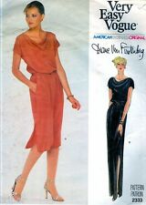 Sewing PATTERN VOGUE American DESIGNER Diane Von Furstenberg Cowl Neck Dress