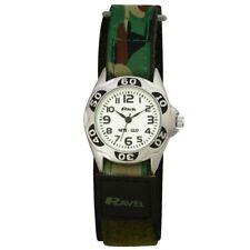 Ravel Kids Boy's  Glow in the Dark NITE-GLO Watch Clear Dial, Green Army Strap