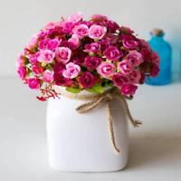 21 Head Plastic Artifical Rose Silk Flower Wedding Bouquet Office Home Decor
