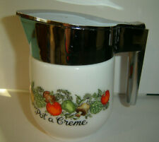 Vtg. Creamer Syrup Pitcher Spice Of Life 'Pot A Creme' Milk Glass Corning Ware