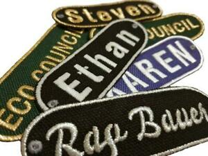 Personalised Oval Embroidered Name Iron On Patches Jeans Badge Club Biker Jacket