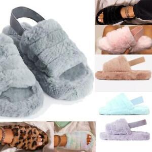 Womens Flat Sandals Flatforms Faux Fur Holiday Slides Comfy Fluffy Summer Size