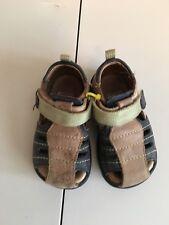 ECCO Sz 4 4.5 5 Sandals Toddler Boy Navy Blue Brown Shoes Velcro Green Walking
