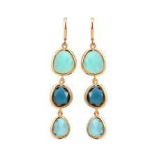 Colorful Stone Statement Gifts Jewelry Crystal Earrings Dangle Long Drop