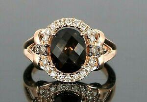 LeVian 14K Strawberry Rose Gold Smoky Quartz Chocolate White Round Diamond Ring