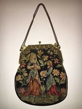 Vintage France Aubusson Marked Petit Point Tapestry Purse Black Ladies Brass