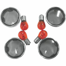 Smoke Bullet Turn Signal Lens Kit With Chrome Trim Rings 00-17 Harley