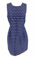 J.CREW Factory Blue & Silver Dot Sleeveless Dress 6 Silk Blend Metallic NEW $118