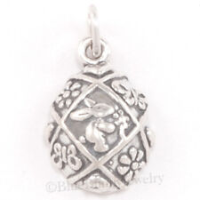 EASTER EGG Charm Pendant Bunny Rabbit Flower Butterfly Sterling Silver 925
