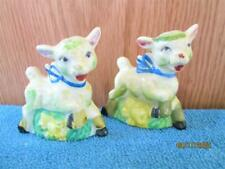 RARE VINTAGE PAIR OF LAMB WITH FLOWERS SALT & PEPPER SHAKERS MADE IN JAPAN