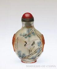 "2.95"" Nice Handmade ""Crane"" Inside Painted Overlay Carved Glass Snuff Bottle"