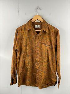 Austin Reed Men's Vintage Long Sleeve Hawaiian Shirt Size M Brown