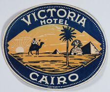 VTG Cairo Luggage Label - Victoria Hotel, Cairo Egypt, Pyramids, Camel, Sphinx