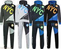 New Men's Luxuary Fleece Zip up NYC Full TrackSuit Jogging Bottom Hoodie Top