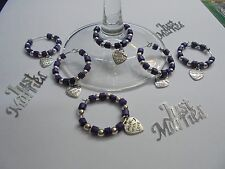 """60 Cadbury Purple Wine Glass charms with """"made with love heart""""   Wedding Favour"""