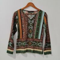 Orientique Sequin Top Size 12 Multicolored Marrakech Printed Long Sleeve V-neck