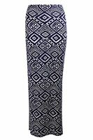 Ladies Womens Aztec Long Maxi Stretch Side Split Skirt Navy Blue White 6 8
