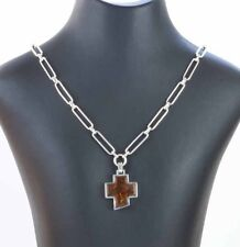 German silver Necklace designed and made by Breuning and set with Amber