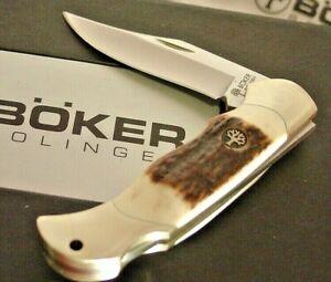 "Boker Germany 3"" Genuine Stag Lockback Lock Blade 112403 Knife MINT IN BOX"