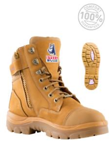 Steel Blue Southern Cross Zip Scuff Ladies Safety Boots Steel Cap 512719 WHEAT