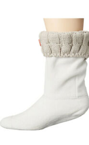 NWOT Hunter Women's 6 Stitch Cable Boot Sock Greige Size L