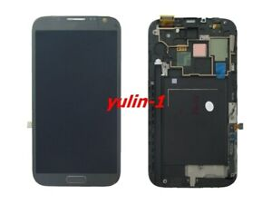 Für Samsung Galaxy Note 2 N7105 LCD Display Touchscreen Digitizer+Rahmen Grau