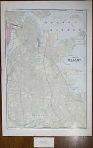 "Vintage 1911 BOSTON MASSACHUSETTS Map 15""x23"" ~ Old Antique Original BEACON HILL"