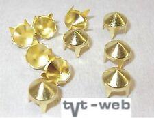 50 Ziernieten, Krallenniete, Kegelnieten 6,5mm gold  !! rostfrei !!