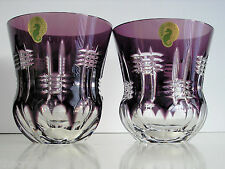 2 Waterford Simply Lilac Amethyst cased cut to clear crystal Dof Rocks Whiskey