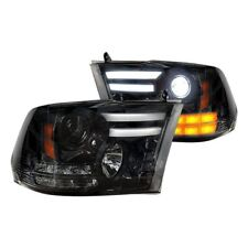 Recon Black/Smoke DRL Bar Projector Headlights for 14-17 Ram 1500 & More