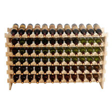 6 Tier Wood Holder Wine Rack Stackable Storage 72 Bottles Solid Display Shelves