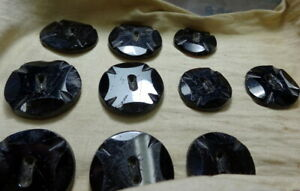 Antique Collection French Jet Black Amethyst Glass Faceted Buttons Maltese Cross