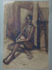 Grande peinture femme BAHRAM nu 1981 nude woman painting 58x40cm