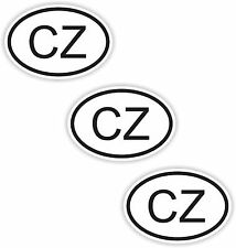3x CZECH REPUBLIC Black/White Small Oval Stickers Country Code Hard Hat Helmet