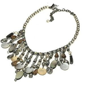 """CHICO'S Necklace Mixed Media Beads MOP Shell Tassel Fringe Frontal NEW 15"""" - 20"""""""