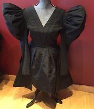 Vintage Sz 36 CHRISTIAN LACROIX 100% Silk Tulle Faille Couture Black Dress Gown