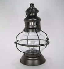 """12"""" Lighted Metal & Glass Hurricane Lantern w/Timer Battery Operated"""