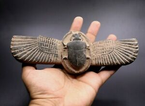 ANCIENT EGYPTIAN ANTIQUES SCARAB WINGS HIEROGLYPHIC STATUE EGYPT STONE BC